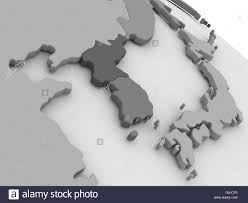Korea On Map Map Of South Korean And North Korea On Grey Model Of Earth 3d