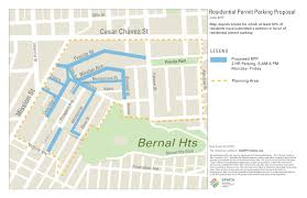 San Francisco Street Cleaning Map by Northwest Bernal Heights Residential Permit Parking Pilot Sfmta