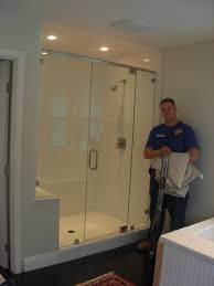 bathroom custom frameless shower doors matched with white wall