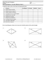 properties of parallelograms worksheet worksheet special parallograms rectangles rhombuses squares