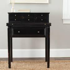 Secretary Writing Desk by Safavieh Abigail Distressed Black Desk With Drawers Amh6520b The