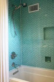 this shower features our 1x3 inch subway glass tiles subway tile