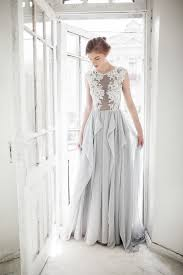 wedding dress etsy gray wedding dress blue gray dress with ivory lace appliques
