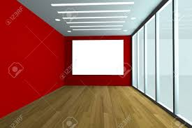 office interior rendering with empty room color wall and decorated