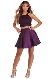 kenzie purple metallic two piece dress