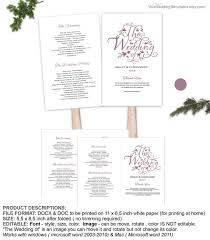 Diy Wedding Program Fans Template Modern Rustic Purple Fan Program Template Script Wedding Program