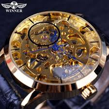 designer watches buy winner transparent blue skeleton golden designer