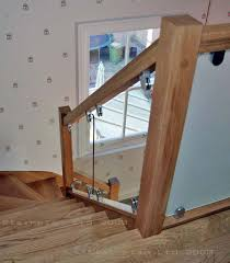Staircase Banister Glass Balustrading Oak Handrail With Glass Toughened Glass