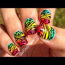 rastafarian ombré with zebra n cheetah print rasta nail art
