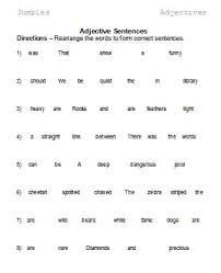adjectives in sentences adjectives word lists activities and worksheets free
