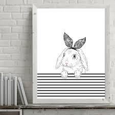 online shop foocame cartoon rabbit glasses line art canvas poster