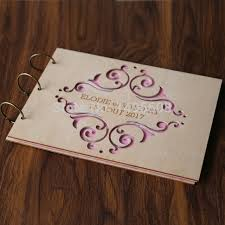 engravable wedding guest book custom wood wedding guest book wedding album laser engraved