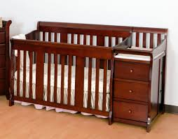 table engaging baby bed with changing table attached wood