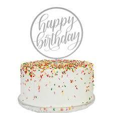 happy birthday cake topper mattox design happy birthday cake topper in silver mirror