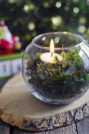 picture of moss terrarium with a candle for a centerpiece