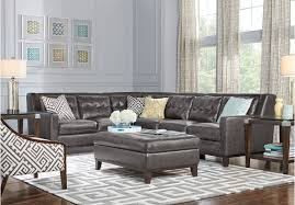 Top Grain Leather Living Room Set by 4 Pc Reina Gray Leather Sectional Rooms To Go Living Room