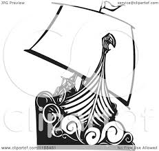 clipart of a black and white viking longship boat woodcut