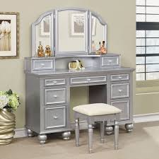 Makeup Bedroom Vanity 3 Pc Athy Collection Silver