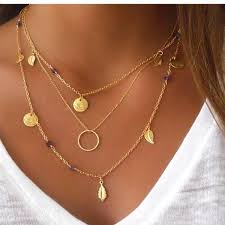circle gold necklace pendant images Boho gold plated coin leaf circle pendant necklace slim wallet jpg