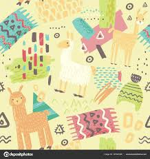 llama wrapping paper lamas seamless pattern abstract background with alpaca