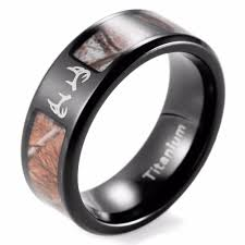 camo mens wedding bands shardon outdoor deer camo ring s black titanium real tree camo