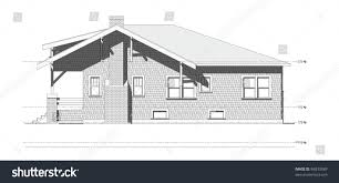 architectural elevation drawing old craftsman style stock