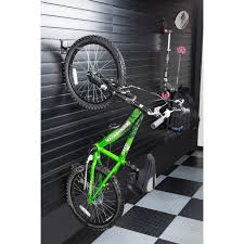 exciting mounted on wall pinky bike plus hanging wired racks for
