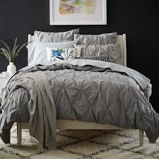 Goose Feather Duvet Sale Organic Cotton Pintuck Duvet Cover Shams Feather Gray West Elm