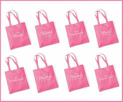 pink gift bags printed pink wedding party bridal tote bags bridesmaid favour