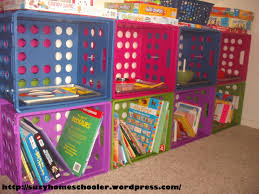 milk crate shelves our homeschool classroom a virtual tour suzy homeschooler