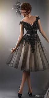 black dress black dress sheer cocktail prom dresses a line beaded