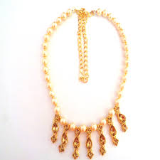 gold stones necklace images Charming half white pearl and gold stones necklace kangankart jpg