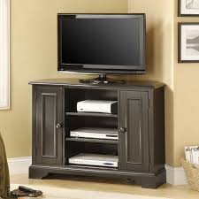 furniture black stained wood height corner tv stand and media