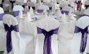 free shipping 50 pcs purple wedding organza chair cover
