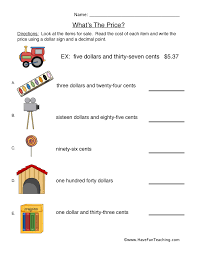 money worksheets page 2 of 2 have fun teaching