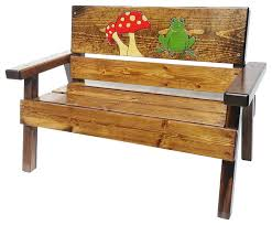 Engraved Benches Happy Bench Engraved Frog And Mushroom Design Rustic Outdoor