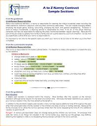 Job Description Nanny Nanny Contract Template Nanny Contract Sample Jpg Loan