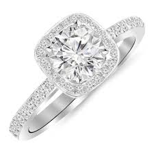 white gold diamond ring 1 carat 14k white gold classic halo style cushion shape diamond