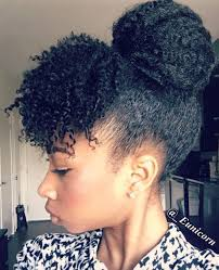 curly hair in high bun with bang faux bun and curly bang ideas for natural hair new natural hairstyles