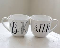 wedding gift mugs personalized lettered mugs by wandersketch engaged