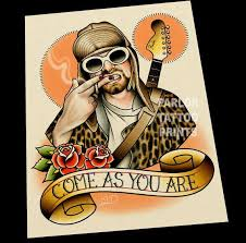kurt cobain nirvana tattoo flash art print