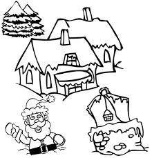 Coloriage de Noël Dans le village le Père Noël senfonce dans la