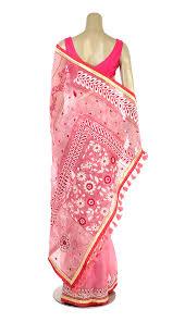 arong saree pink nakshi kantha embroidered muslin saree muslin saree women