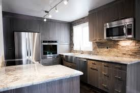 red oak wood yardley door kitchens with gray cabinets backsplash
