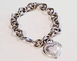silver bracelet with heart pendant images Judith ripka etsy jpg