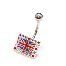 British Flag With Red British Flag Belly Button Ring With Blue And Red Cz Gems