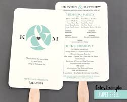 wedding ceremony program fans ampersand and heart wedding program fan cool colors