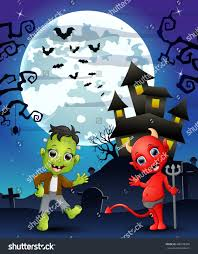 halloween background kids frankenstein red devil stock vector