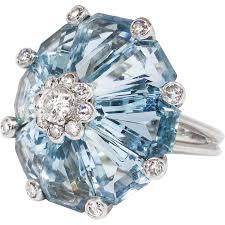 aquamarine diamond ring vintage 16 48ct t w aquamarine diamond ring retro 1940 s