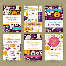 scary halloween party invitations halloween flat vector party invitation template set u2014 stock vector